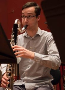 Joel Hands-Otte performing bass clarinet